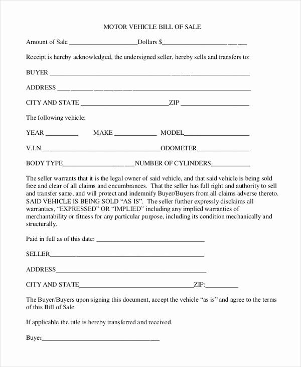 Sample Motorcycle Bill Of Sale Elegant Sample Bill Of Sale forms 22 Free Documents In Word Pdf