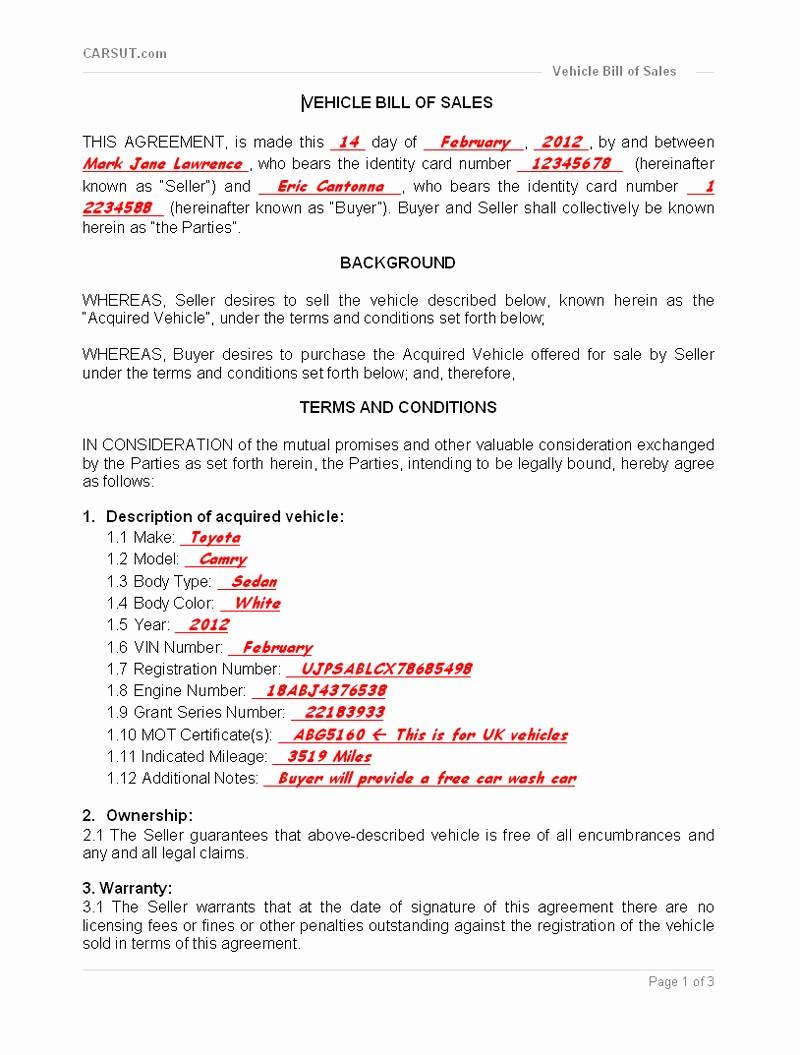 Sample Motorcycle Bill Of Sale Elegant Vehicle Bill Of Sale Printable