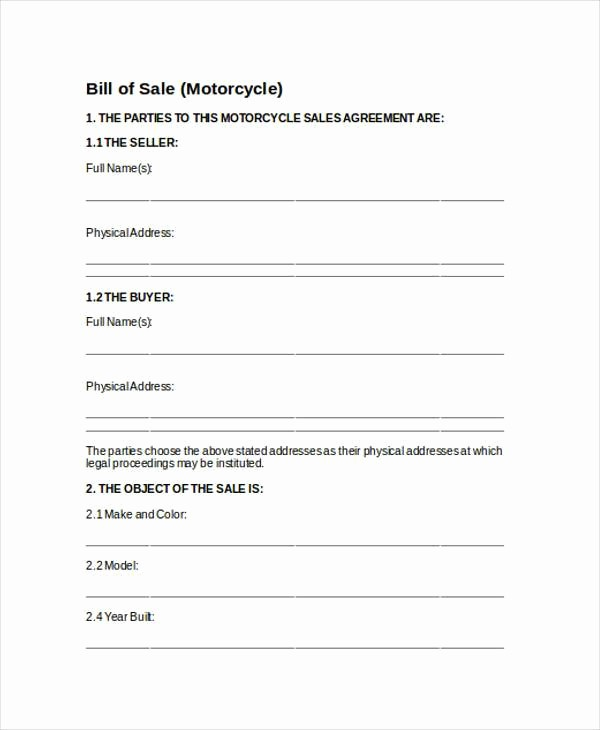Sample Motorcycle Bill Of Sale Inspirational Bill Of Sale form In Word