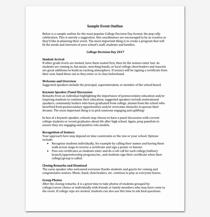 Sample Of A event Program Beautiful event Program Outline 13 Printable Samples Examples