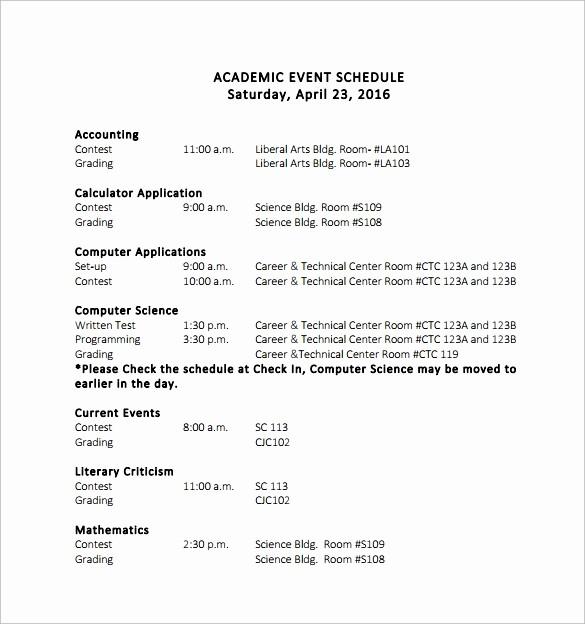 Sample Of A event Program Unique 14 event Schedule Templates