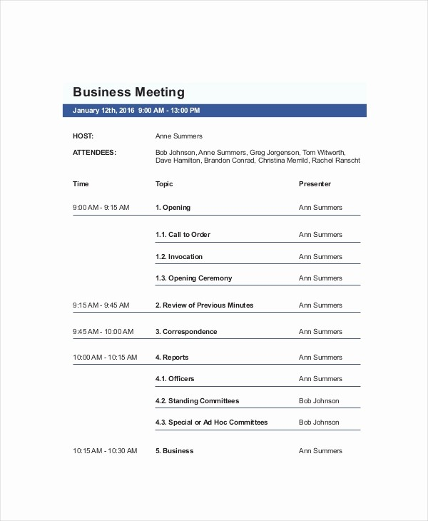 Sample Of A Meeting Agenda Awesome 10 Business Meeting Agenda Templates – Free Sample
