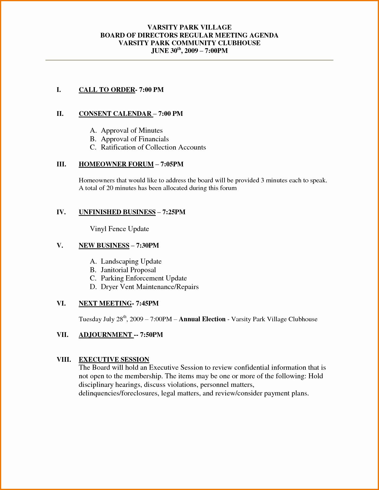 Sample Of A Meeting Agenda Beautiful 6 Meeting Agenda Example