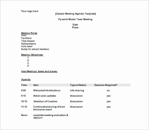 Sample Of A Meeting Agenda Beautiful Agenda Template – 24 Free Word Excel Pdf Documents
