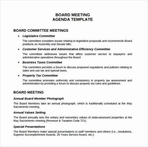 Sample Of A Meeting Agenda Best Of 12 Sample Board Meeting Agenda Templates