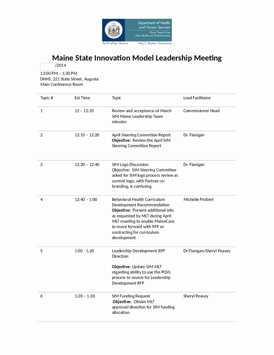 Sample Of A Meeting Agenda Fresh 2019 Meeting Agenda Template Fillable Printable Pdf