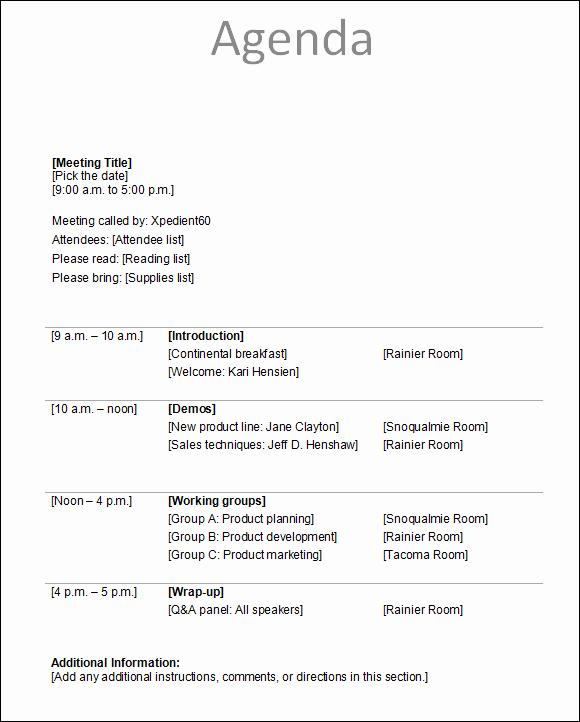 Sample Of A Meeting Agenda Fresh Agenda Template
