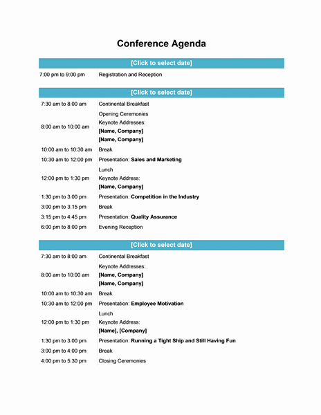 Sample Of A Meeting Agenda Fresh Efficient Agenda Template Example for Conferences with
