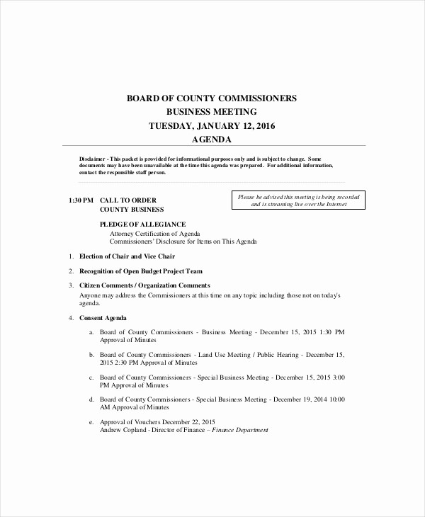 Sample Of A Meeting Agenda Lovely 10 Business Meeting Agenda Templates – Free Sample