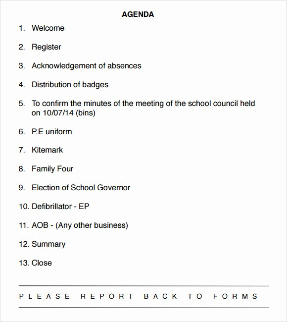 Sample Of A Meeting Agenda Unique 9 School Agenda Samples