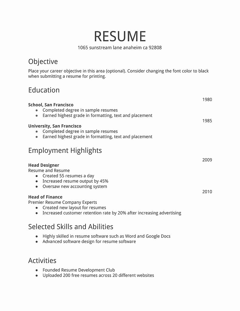 Sample Of A Simple Resume Elegant Simple Resume Template Download Free Resume Templates D