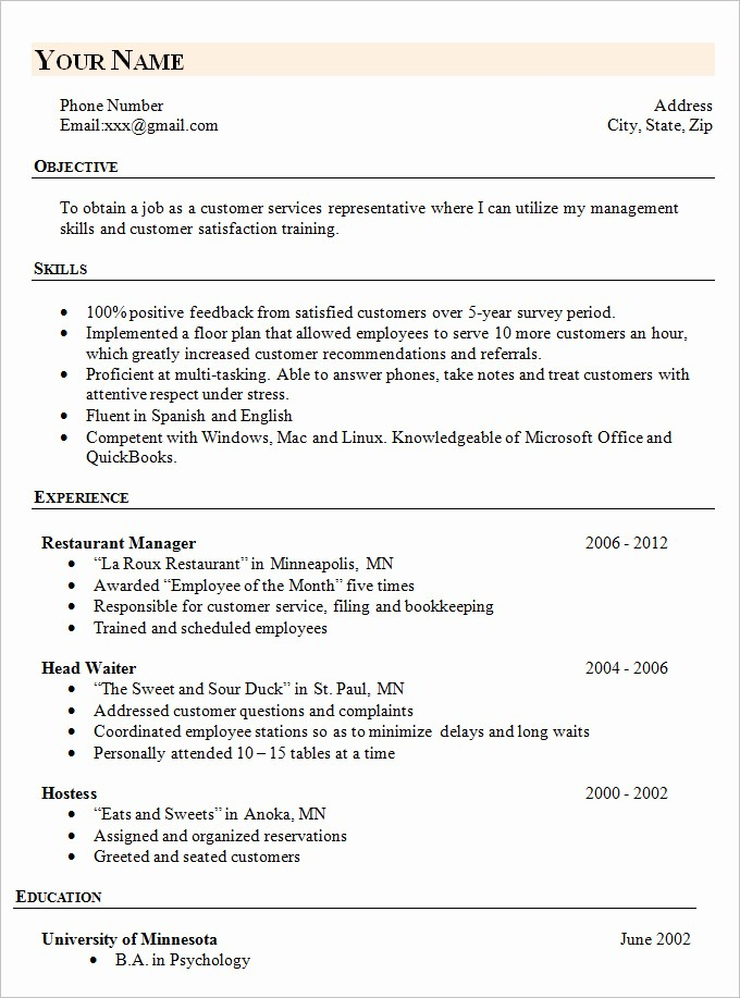 Sample Of A Simple Resume Inspirational Simple Resume Template 46 Free Samples Examples