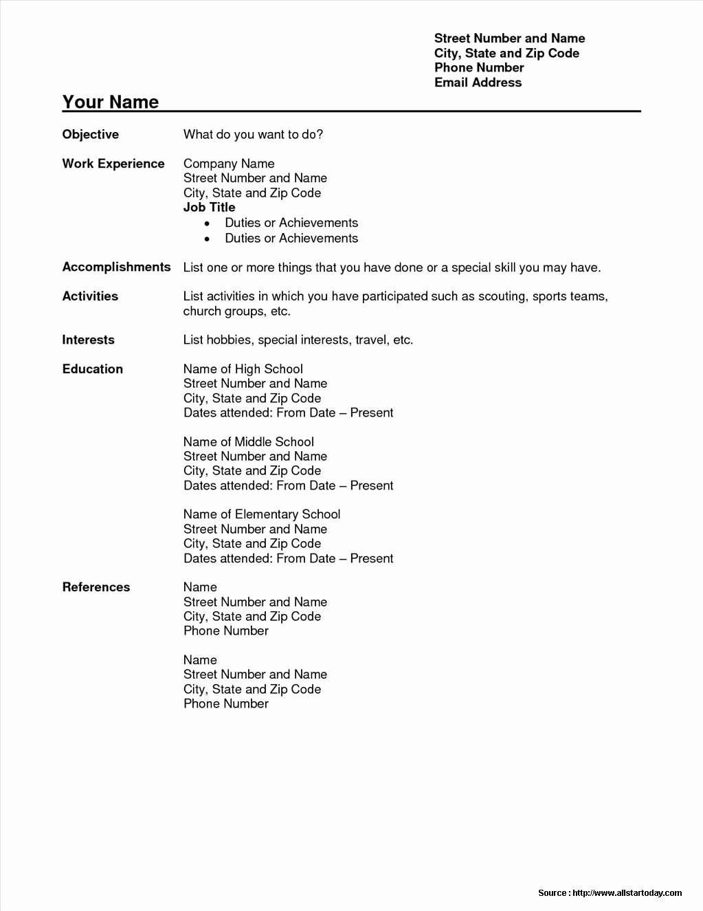 Sample Of A Simple Resume Unique Simple Sample Resume format Free Download Resume