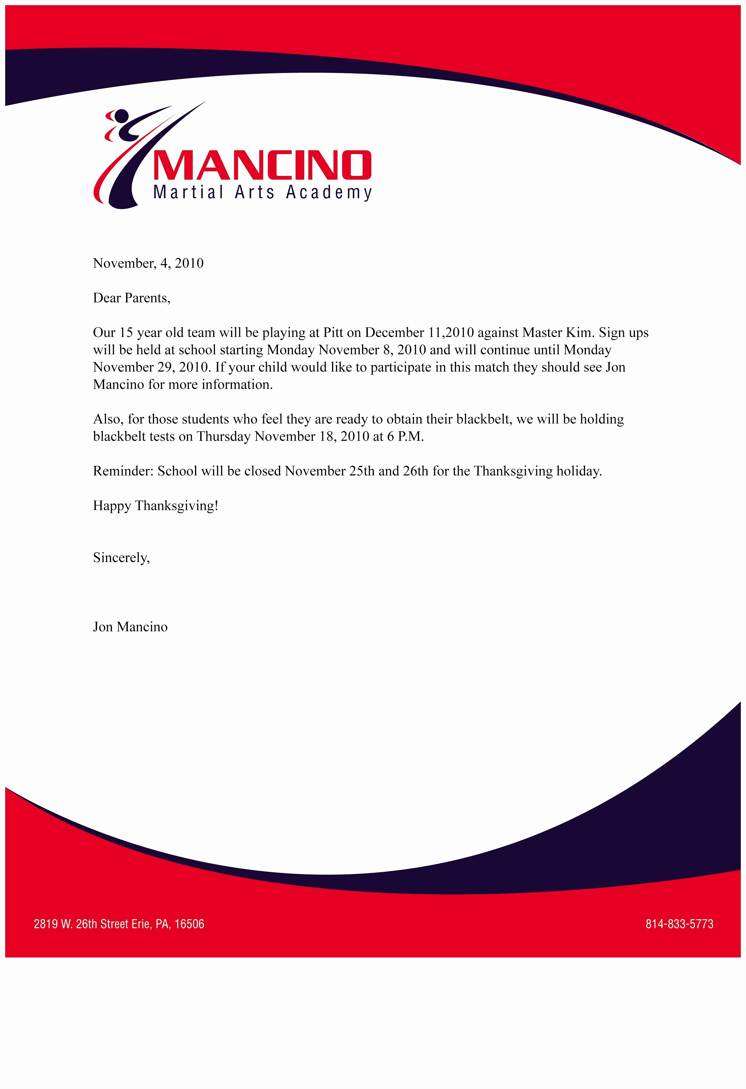 business letterhead format example
