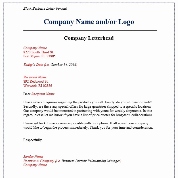 Sample Of Business Letterhead format Inspirational 7 Business Letter format Examples