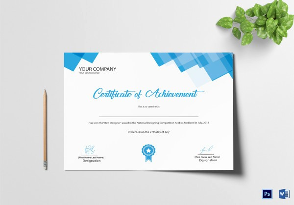 Sample Of Certificate Of Achievement Awesome 36 Word Certificate Templates