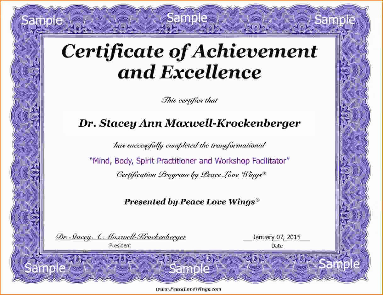 Sample Of Certificate Of Achievement Awesome 4 Sample Certificate Of Pletion