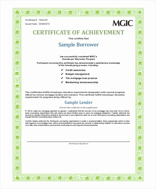 Sample Of Certificate Of Achievement Awesome Certificate Achievement Template 6 Free Pdf