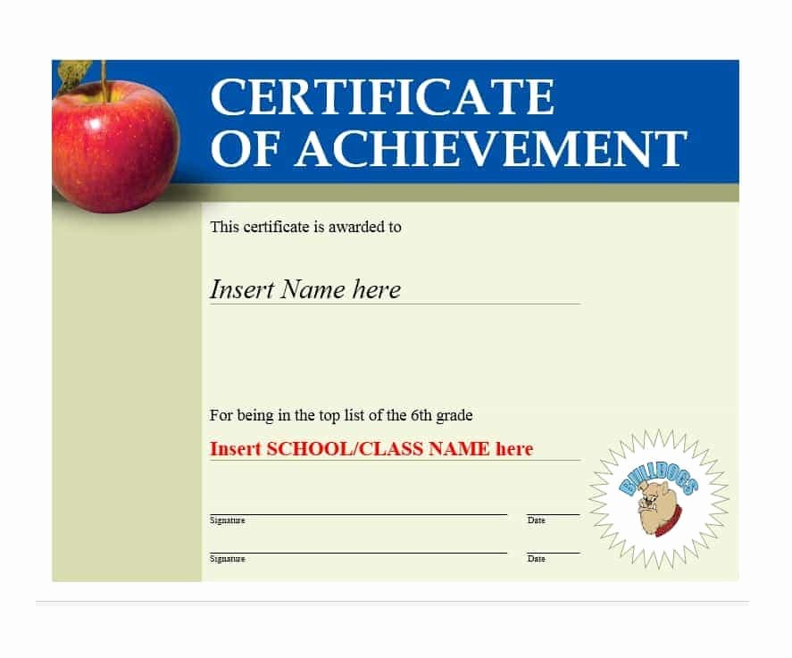 Sample Of Certificate Of Achievement Elegant 40 Great Certificate Of Achievement Templates Free