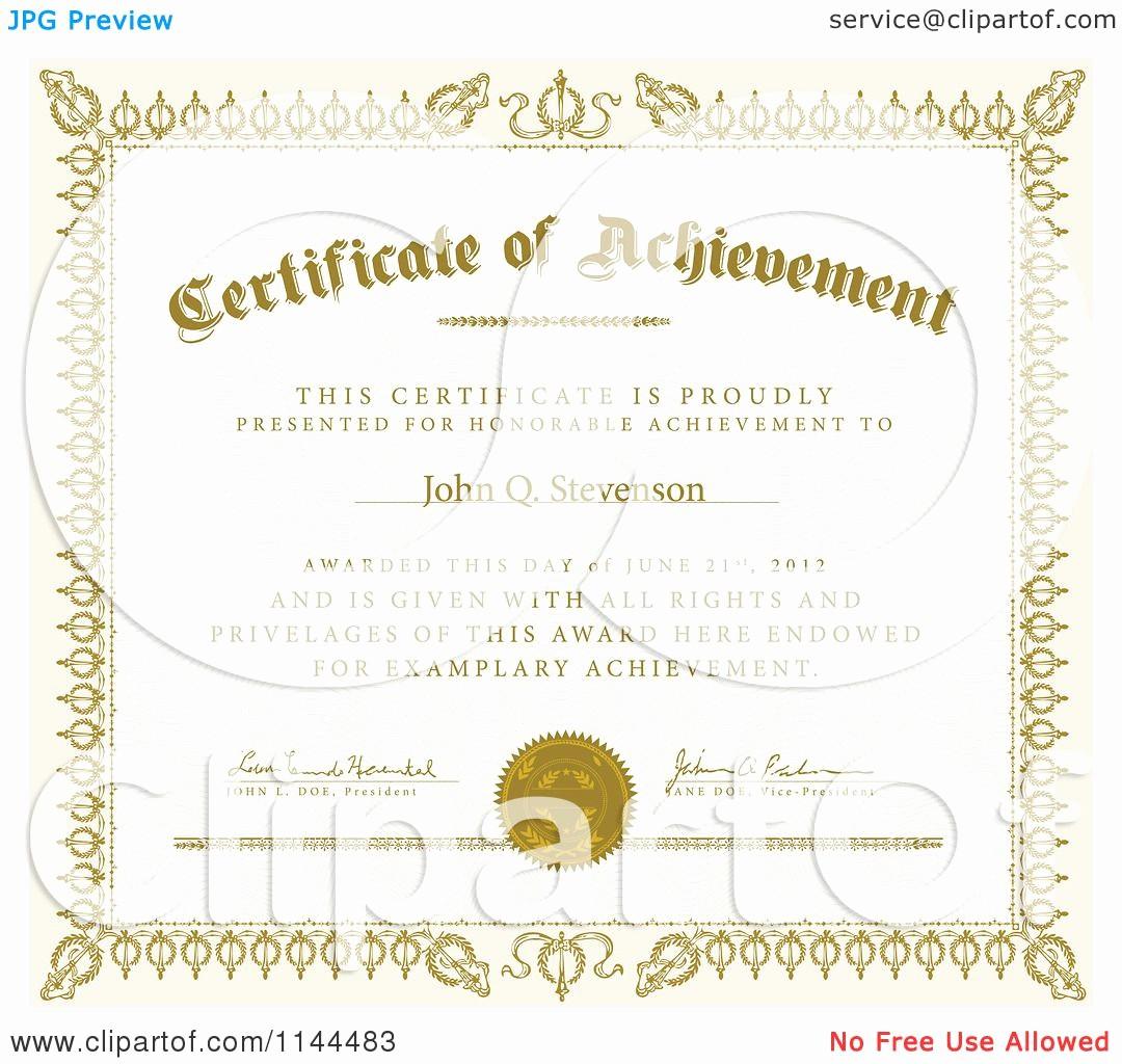 Sample Of Certificate Of Achievement Elegant Clipart Of A Golden Certificate Of Achievement with Sample