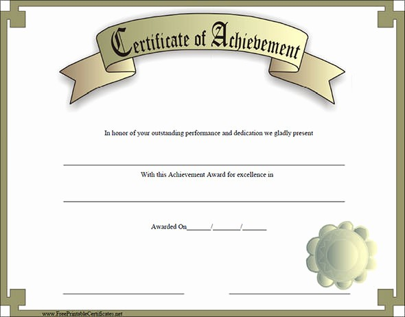 Sample Of Certificate Of Achievement Fresh 38 Best Certificate Of Achievement Templates