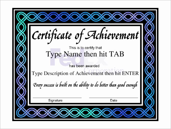 Sample Of Certificate Of Achievement Fresh Certificate Templates