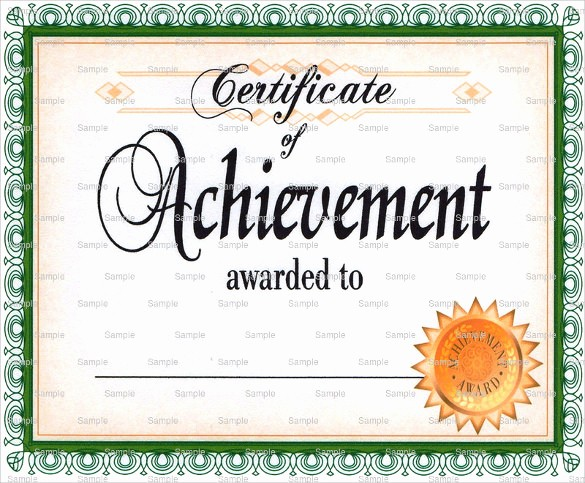 Sample Of Certificate Of Achievement Inspirational 38 Best Certificate Of Achievement Templates