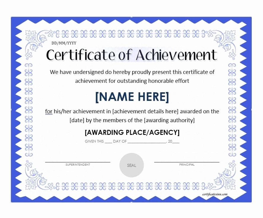 Sample Of Certificate Of Achievement New 40 Great Certificate Of Achievement Templates Free