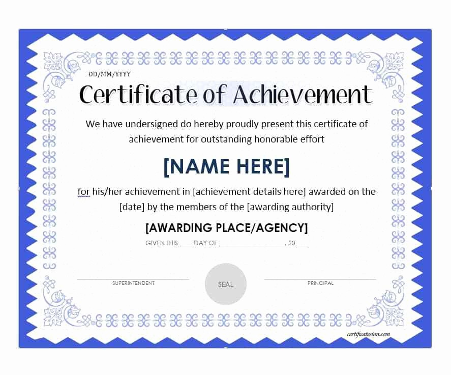 Sample Of Certificate Of Achievement New Sample Certificate Achievement