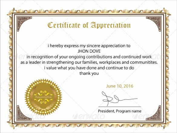 Sample Of Certificate Of Appreciation Awesome 24 Sample Certificate Of Appreciation Temaplates to