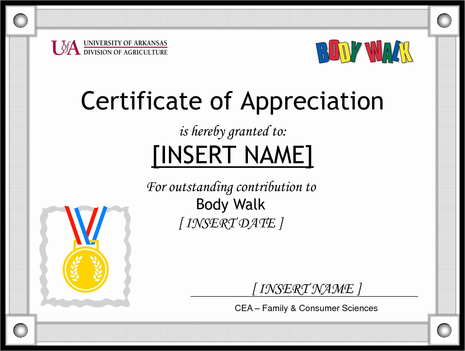 Sample Of Certificate Of Appreciation Beautiful Award Templates Word Example Mughals