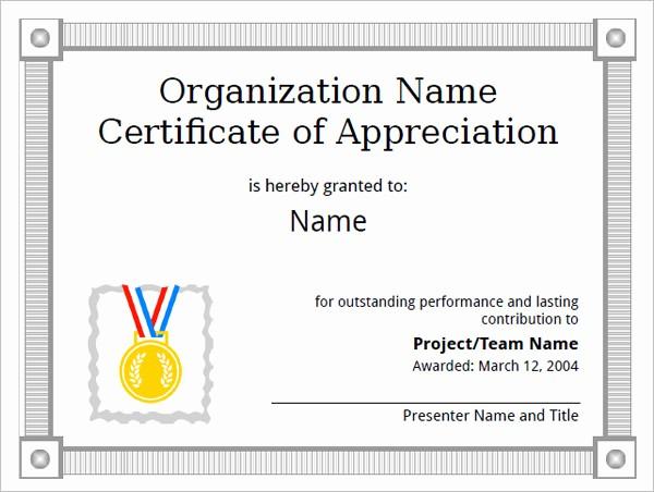 Sample Of Certificate Of Appreciation Elegant 21 Certificate Of Appreciation Templates – Free Samples