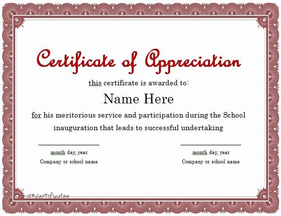 Sample Of Certificate Of Appreciation Elegant Blank Certificates