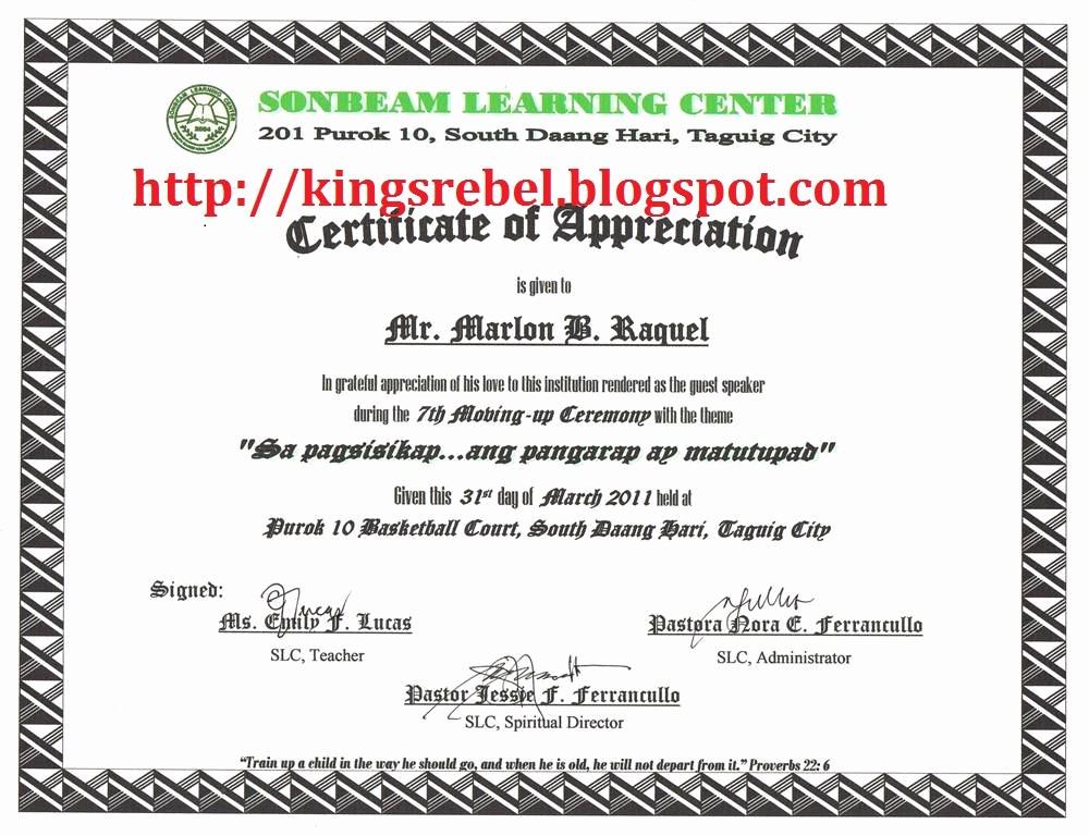 Sample Of Certificate Of Appreciation Elegant Sample Of Certificate Of Appreciation to Guest Speaker