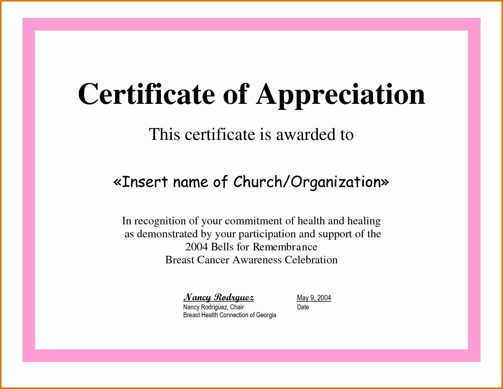 Sample Of Certificate Of Appreciation Fresh Certificate Of Appreciation Samplesreference Letters Words