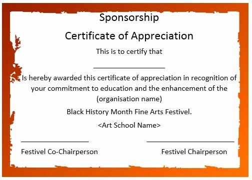Sample Of Certificate Of Appreciation Inspirational 12 Elegant Certificates Of Appreciation for Sponsorship