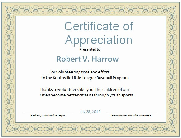 Sample Of Certificate Of Appreciation Inspirational Word Certificate Template 49 Free Download Samples