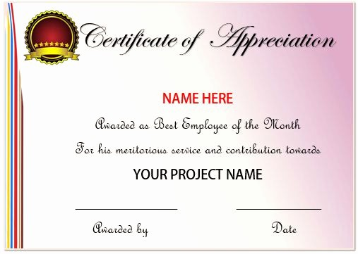 Sample Of Certificate Of Appreciation New 20 Free Certificates Appreciation for Employees