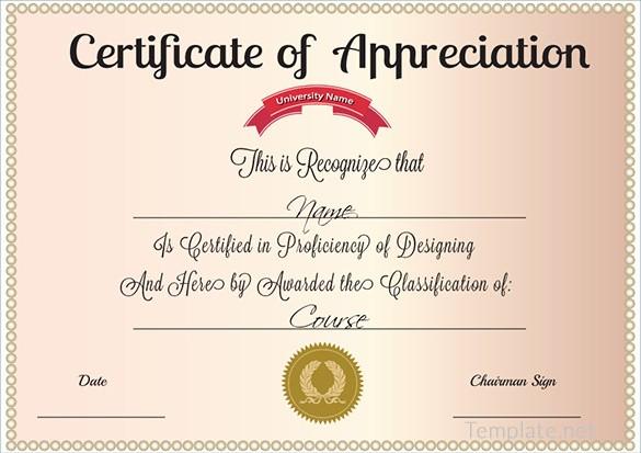 Sample Of Certificate Of Appreciation New Free Certificate Template – 65 Adobe Illustrator
