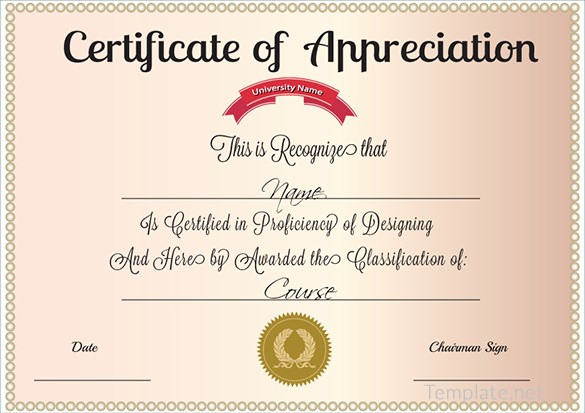 Sample Of Certificates Of Appreciation Awesome Free Certificate Template – 65 Adobe Illustrator
