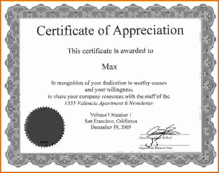 Sample Of Certificates Of Appreciation Luxury Certificate Of Appreciation Samplesreference Letters Words