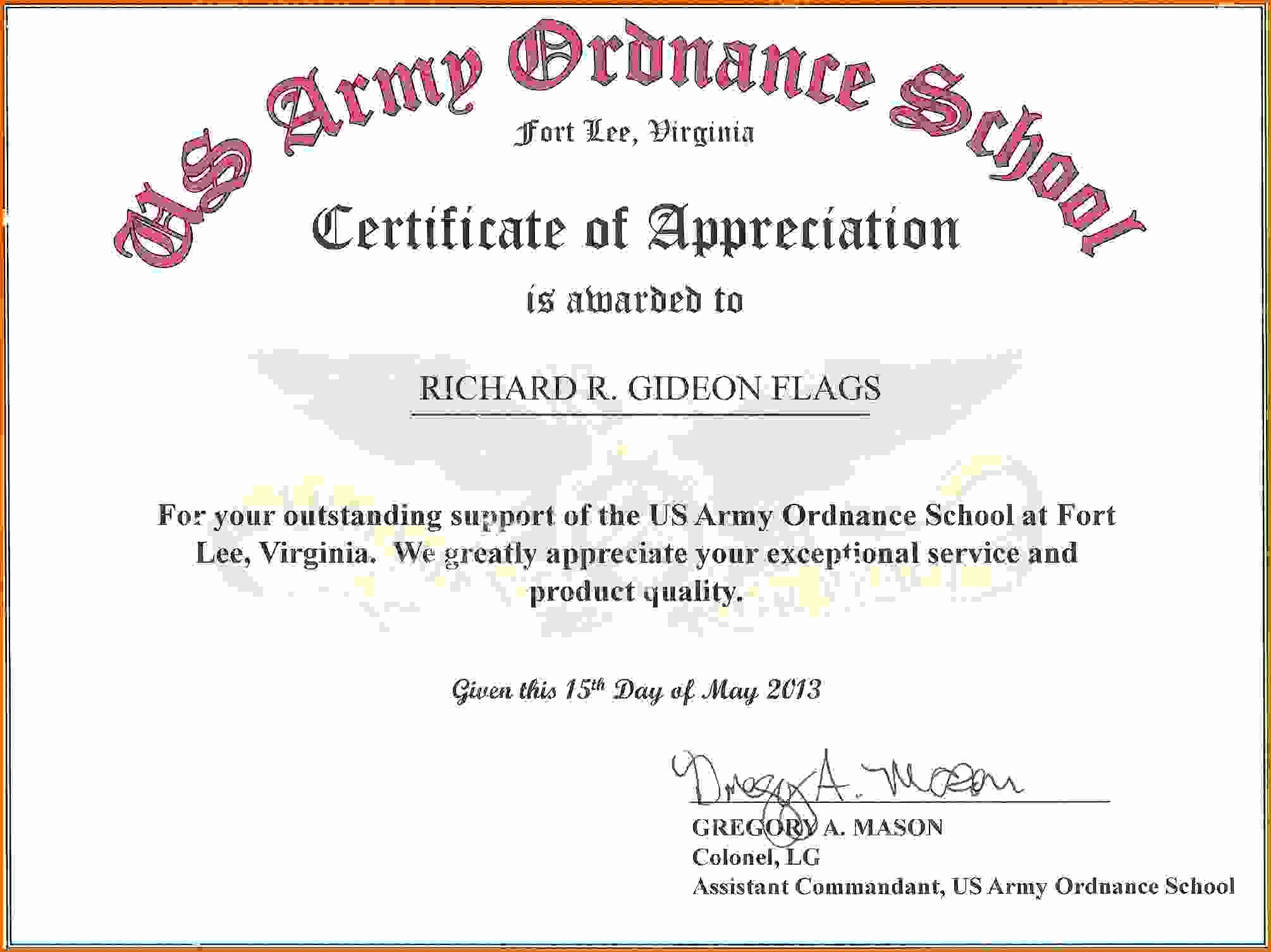 Sample Of Certificates Of Appreciation Unique Army Certificate Of Appreciationreference Letters Words