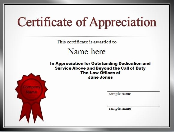 Sample Of Certification Of Appreciation Beautiful 30 Free Certificate Of Appreciation Templates and Letters