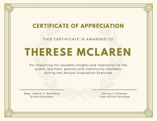 Sample Of Certification Of Appreciation Fresh Purple and Gold Bordered Appreciation Certificate