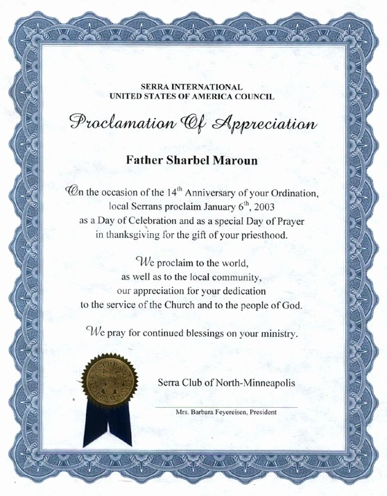 Sample Of Certification Of Appreciation Inspirational 10 Best Of Religious Certificate Appreciation
