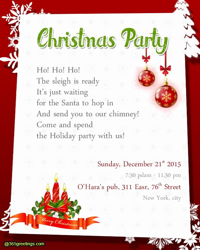 Sample Of Christmas Party Invitation Awesome Christmas Party Invitation Wording Templates