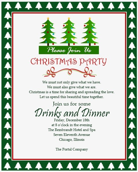 Sample Of Christmas Party Invitation Beautiful Christmas Invitation Template and Wording Ideas