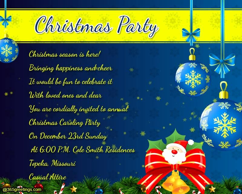 Sample Of Christmas Party Invitation Beautiful Christmas Party Invitation Wording 365greetings