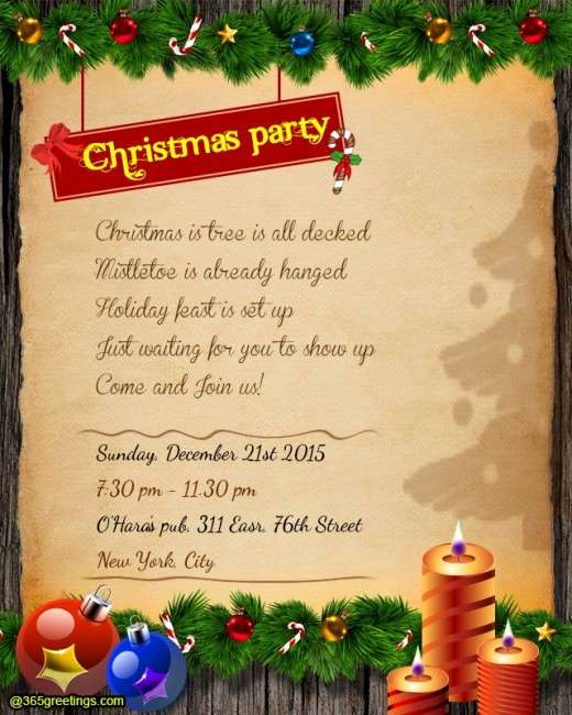Sample Of Christmas Party Invitation Fresh Christmas Party Invitation Wording 365greetings
