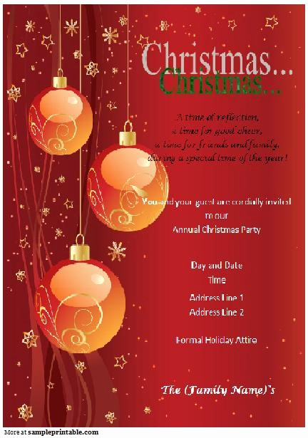 Sample Of Christmas Party Invitation Lovely Christmas Party Invitation Printable Christmas Party